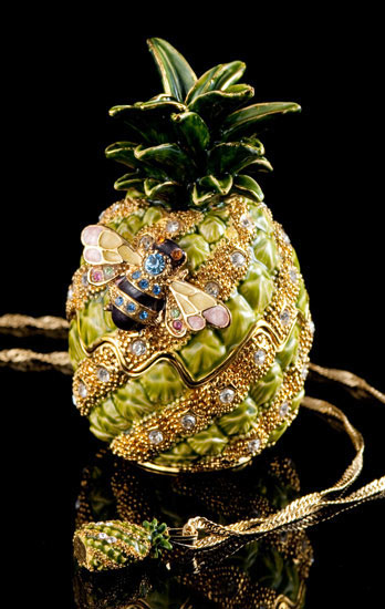 Miniature Jeweled Pineapple Box and Necklace