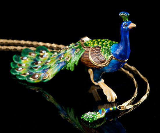 Majestic Peacock Jeweled Box and Necklace