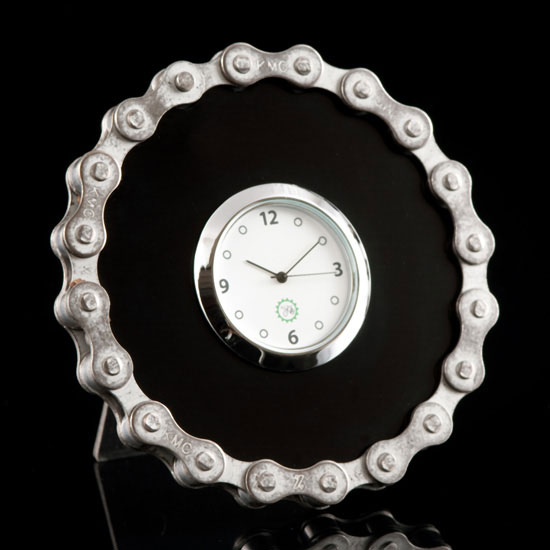 Black Bike Chain Desk Clock