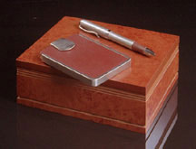 Leather and Chrome Card Case and Pen Set in Burlwood Box