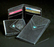 Black Calf Leather Wallet with Turquoise Triangle Inlay