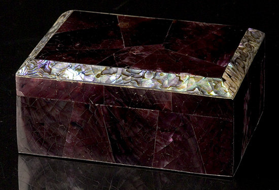 Violet Oyster Shell Desk Box with Paua Trim