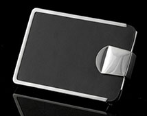 Black Leather and Chrome Business Card Case