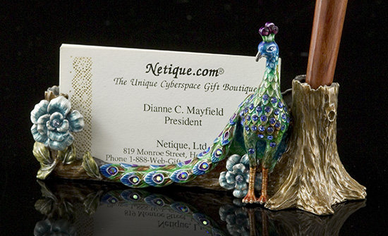 Jeweled Peacock Card/Pen Holder