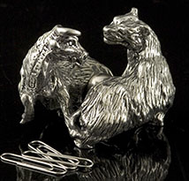 Bull and Bear Paperclip Holder