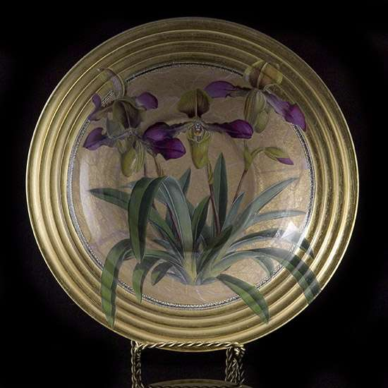 Gilt Orchid Decoupage Decorative Bowl