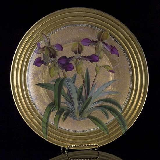 Gilt Orchid Decoupage Decorative Plate