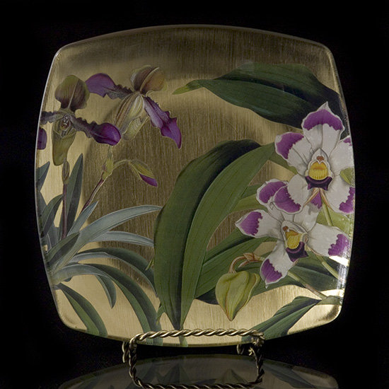 Gilt Orchid Decoupage Fluted Dish