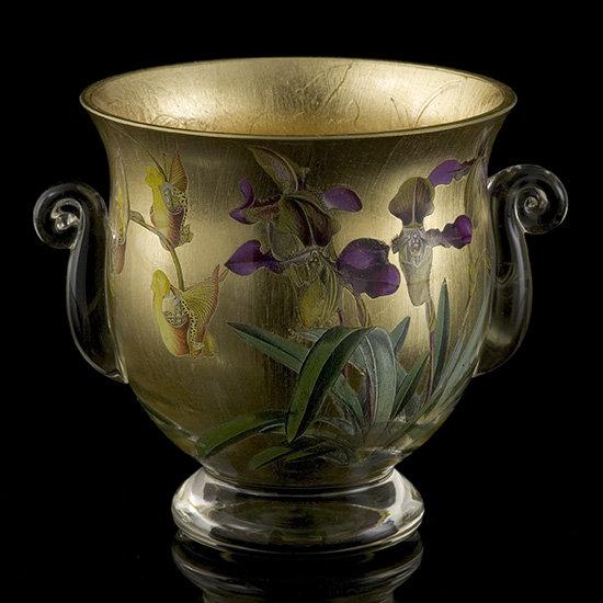 Gilt Orchid Decoupage Urn