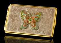 Coral Butterfly Business Card Holder/Address Book
