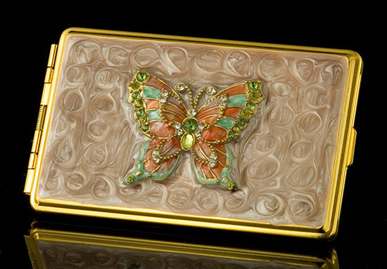 Coral Butterfly Card Holder