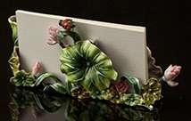 Jeweled Frog On Lotus Leaf Card/Pen Holder - Back