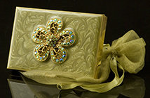 Lime Jeweled Flower Calculator/Card Holder