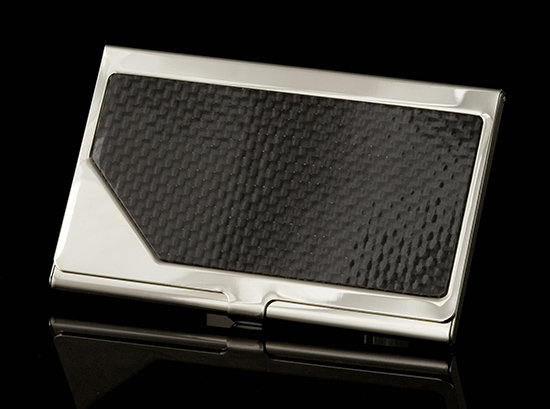 Carrington Business Card Holder - Black Carbon