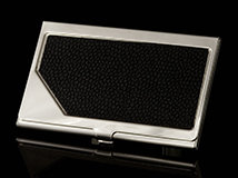 Black Leather Carrington Business Card Case