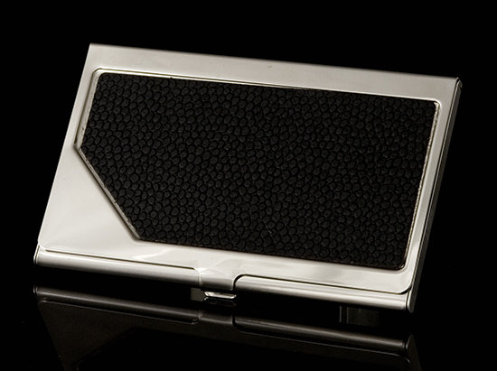 Carrington Business Card Holder - Black Leather