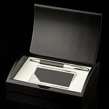 Carrington Black Carbon Card Case and Pen Set - Open