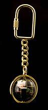 Black Opalite Gemstone Globe Keyring