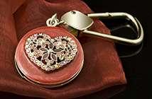 Jeweled Heart Key Ring