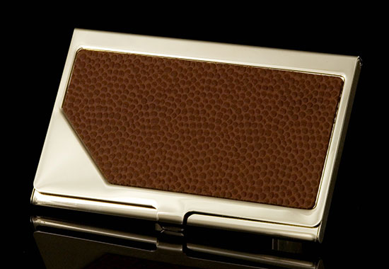 Carrington Business Card Holder - Brown Leather