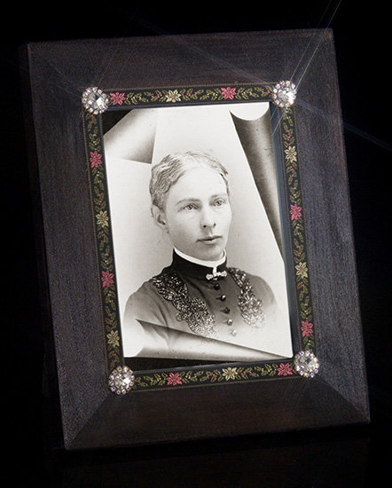 Jeweled Cabochon and Brocade Frame