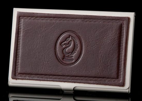 Dark Brown Excelsior Card Case-Horsehead Emblem