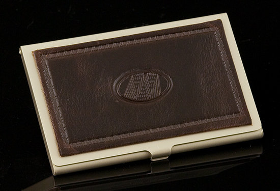 Dark Brown Excelsior Card Case-Geometric Emblem