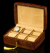 Italian Leather Tuscan Watch Case - Open