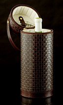 Brown Braided Leather Wine Tote - Open