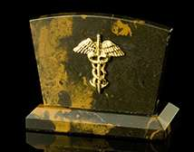 Caduceus Marble Card Holder and Clock - Back
