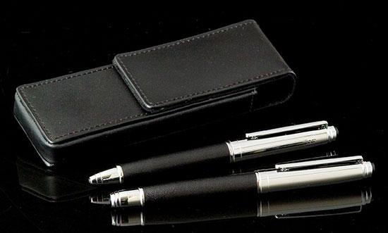 Black Leather Pen Holder and Pen Set