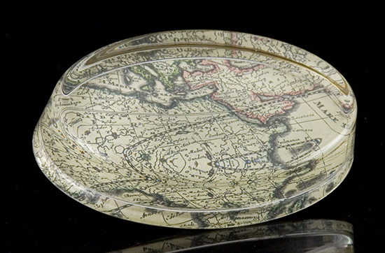 Antique Map Oval Paperweight