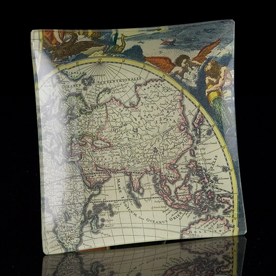 Antique Map Square Tray