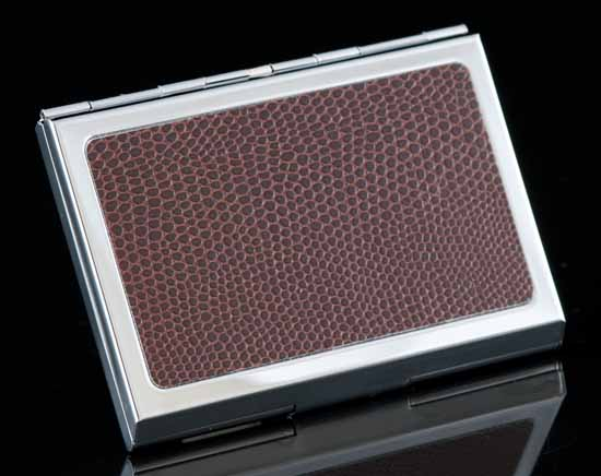 Ascot Brown Caviar Leather Card Case