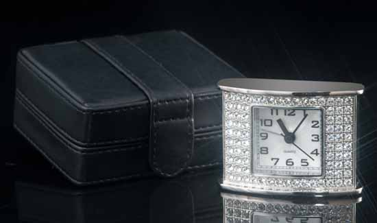 San Tropez Jeweled Travel Alarm Clock