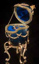 Regal Blue Jeweled Egg - Open