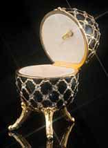 Fur Elise Black Jeweled Musical Egg - Open