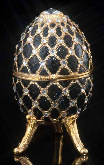 Fur Elise Black Jeweled Musical Egg