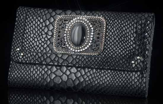 Parisian Nights Black Leather Wallet/Clutch