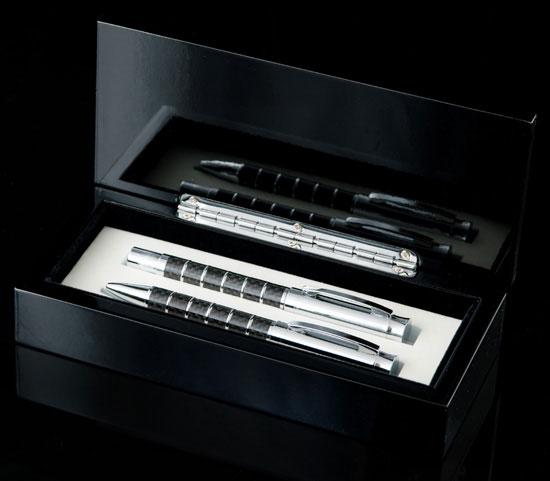 Chrome Stripes Pen Set