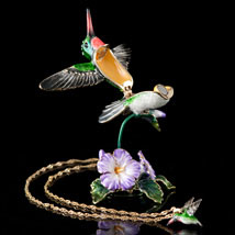 Soaring Hummingbird Box and Necklace - Open