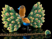 Regal Peacock Jeweled Box and Necklace - Open