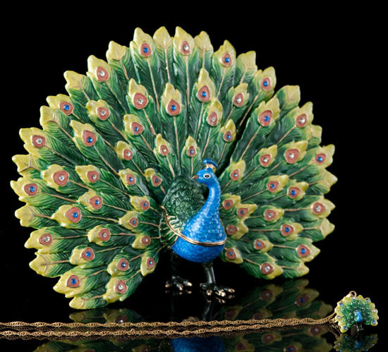 Regal Peacock Jeweled Box and Necklace