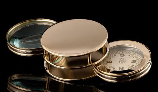 Gold-tone Compass/Magnifier