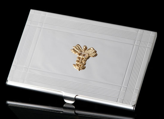 Silver Deco Card Holder for Physicians