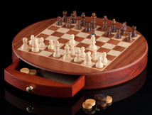 Three-In-One Inlaid Wooden Game Set