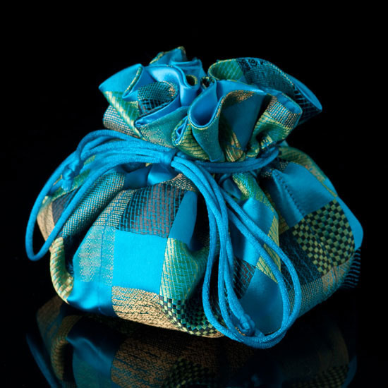 Teal Satin Chinoiserie Jewelry Pouch