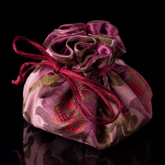 Burgundy/Mauve Satin Chinoiserie Jewelry Pouch