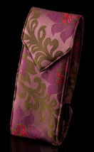 Burgundy/Mauve Satin Chinoiserie Double Eyeglass Case