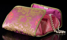 Burgundy/Mauve Satin Chinoiserie Treasure Bag - Open